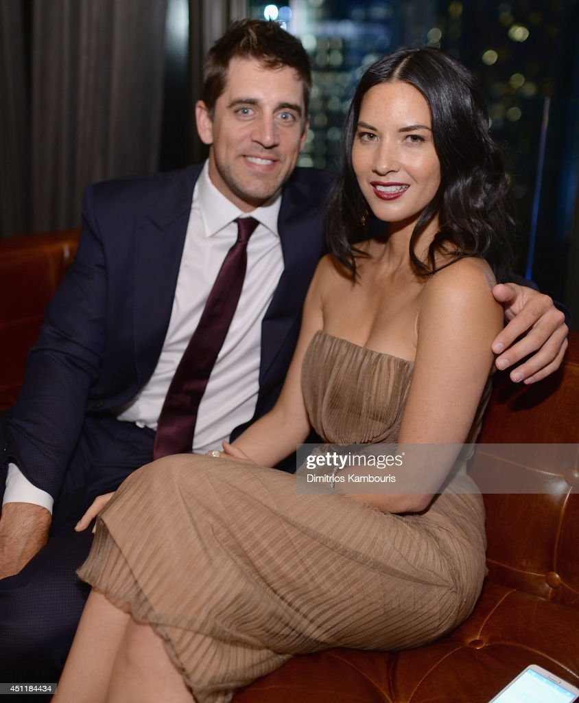 Aaron Rodgers and Olivia Munn attend the 'Deliver Us From Evil' screening after party hosted by Screen Gems & Jerry Bruckheimer Films with The Cinema Society at The Skylark on June 24, 2014 in New York City.