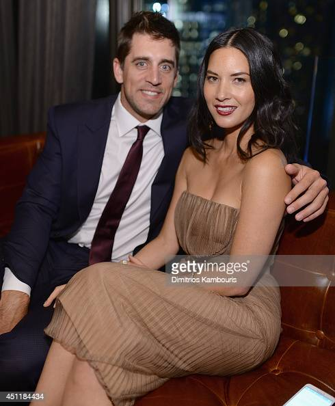 Aaron Rodgers and Olivia Munn attend the 'Deliver Us From Evil' screening after party hosted by Screen Gems Jerry Bruckheimer Films with The Cinema...