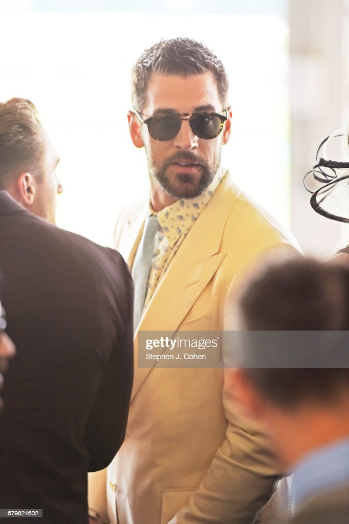 Aaron Rodgers attends the 143rd Kentucky Derby at Churchill Downs on May 6, 2017 in Louisville, Kentucky.