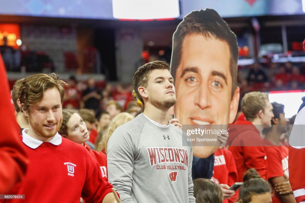 Aaron Rodgers mask in the stands during a college basketball game between the University of Wisconsin Badgers and the Western Kentucky University Hilltoppers on December 13, 2017 at the Kohl Center in Madison, WI.