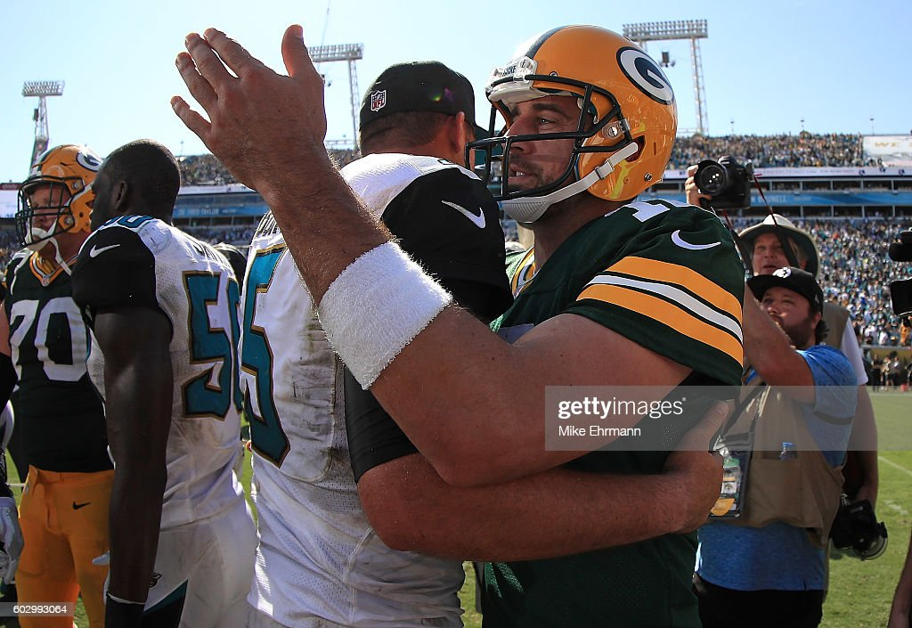 Aaron Rodgers #12 of the Green Bay Packers and Blake Bortles #5 of the Jacksonville Jaguars shake hands during a game at EverBank Field on September 11, 2016 in Jacksonville, Florida.