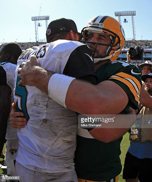 Aaron Rodgers of the Green Bay Packers and Blake Bortles of the Jacksonville Jaguars shake hands during a game at EverBank Field on September 11 2016...