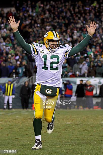 Aaron Rodgers of the Green Bay Packers celebrates after a touchdown in the third quarter against the Philadelphia Eagles during the 2011 NFC wild...