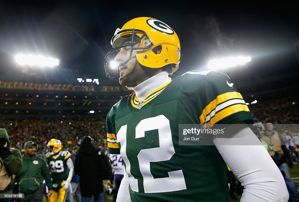 Aaron Rodgers #12 of the Green Bay Packers reacts after the game against the Minnesota Vikings at Lambeau Field on January 3, 2016 in Green Bay, Wisconsin. The Minnesota Vikings defeated the Green Bay Packers with a score of 20 to 13.