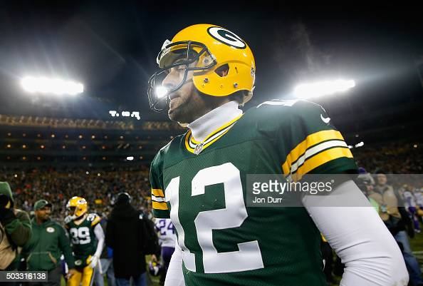 Aaron Rodgers of the Green Bay Packers reacts after the game against the Minnesota Vikings at Lambeau Field on January 3 2016 in Green Bay Wisconsin...