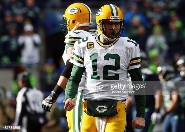 Aaron Rodgers of the Green Bay Packers reacts during the first half of the 2015 NFC Championship game against the Seattle Seahawks at CenturyLink...