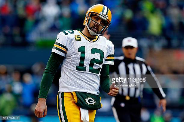 Aaron Rodgers of the Green Bay Packers reacts in the fourth quarter against the Seattle Seahawks during the 2015 NFC Championship game at CenturyLink...