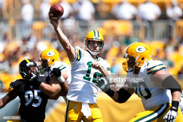 Aaron Rodgers of the Green Bay Packers throws a pass in the first half of a preseason game against the Pittsburgh Steelers at Heinz Field on August...