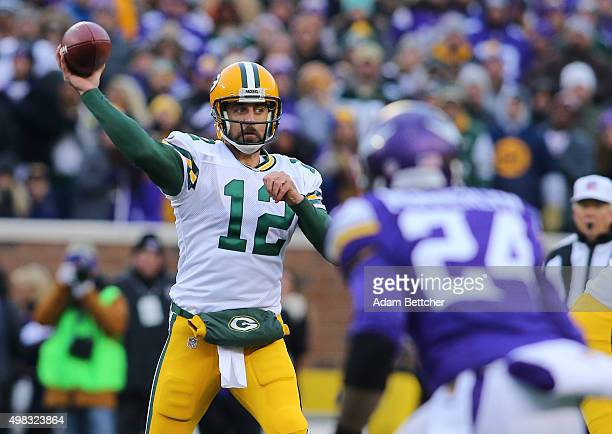 Aaron Rodgers of the Green Bay Packers throws the ball against the Minnesota Vikings in the first quarter on November 22 2015 at TCF Bank Stadium in...