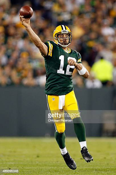 Aaron Rodgers of the Green Bay Packers throws the ball in the second quarter against the Seattle Seahawks during their game at Lambeau Field on...