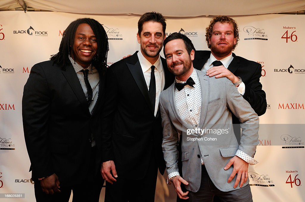 Aaron Rodgers, Russ Renbarger and Eric Wood attend the Maxim And Maker's 46 Fillies & Stallions Hosted By Blackrock at Mellwood Arts & Entertainment Center on May 3, 2013 in Louisville, Kentucky.