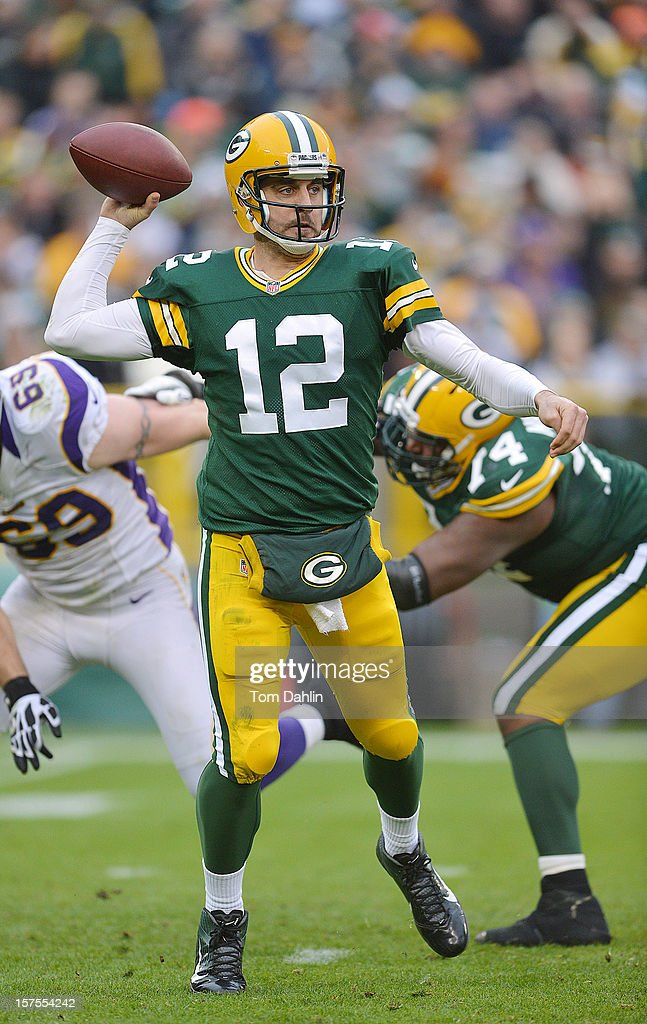 Aaron Rogers #12 of the Green Bay Packers passes the ball during an NFL game against the Minnesota Vikings at Lambeau Field on December 2, 2012 in Green Bay, Wisconsin.