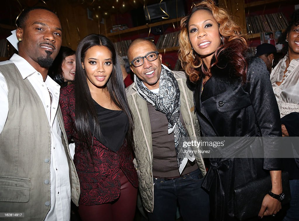 Aaron Ross, Angela Simmons, Kevin Liles and Sanya Richards-Ross attend Kevin Liles' 45th Birthday Party at The Rec Room on February 27, 2013 in New York City.