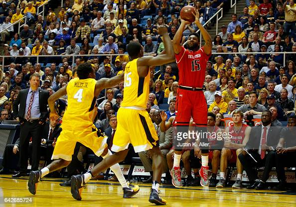 Aaron Ross of the Texas Tech Red Raiders pulls up for three against the West Virginia Mountaineers at the WVU Coliseum on February 18 2017 in...