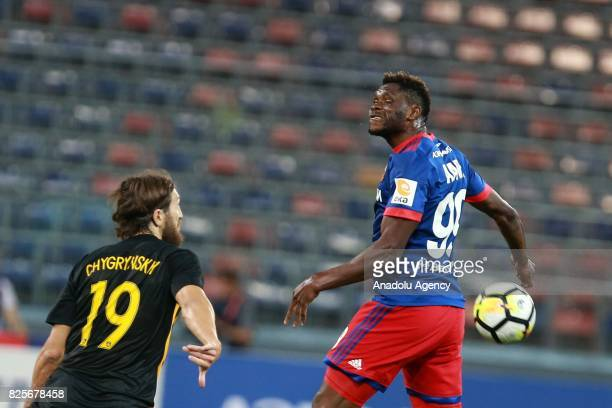 Aaron Samuel Olanare of CSKA Moscow in action against Dmytro Chygrynskiy of AEK Athens during the UEFA Champions League 3rd Qualifying Round match...