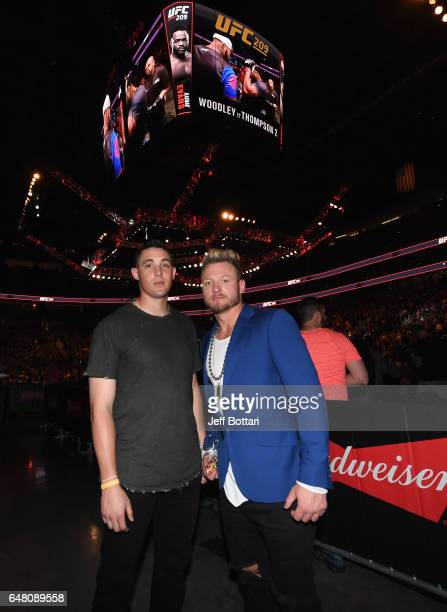 Aaron Sanchez and Josh Donaldson of the Toronto Blue Jays in attendance during the UFC 209 event at TMobile Arena on March 4 2017 in Las Vegas Nevada