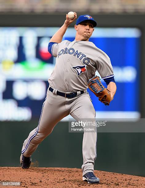 Aaron Sanchez of the Toronto Blue Jays delivers a pitch against the Minnesota Twins during the second inning of the game on May 20 2016 at Target...
