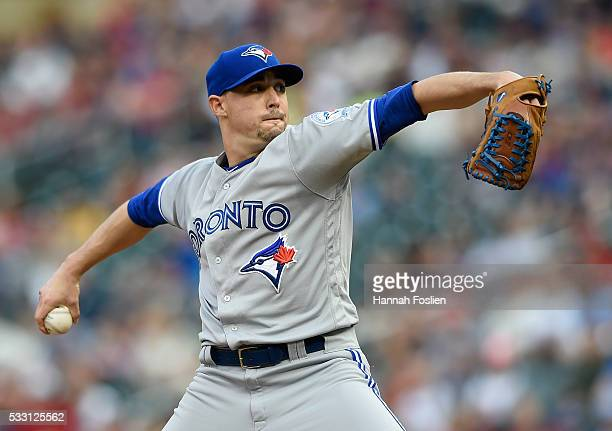 Aaron Sanchez of the Toronto Blue Jays delivers a pitch against the Minnesota Twins during the first inning of the game on May 20 2016 at Target...