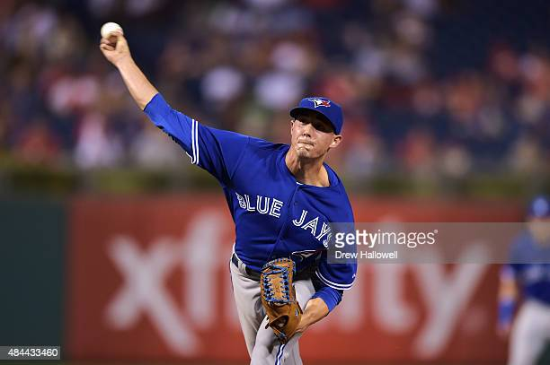 Aaron Sanchez of the Toronto Blue Jays delivers a pitch in the eighth inning against the Philadelphia Phillies at Citizens Bank Park on August 18...