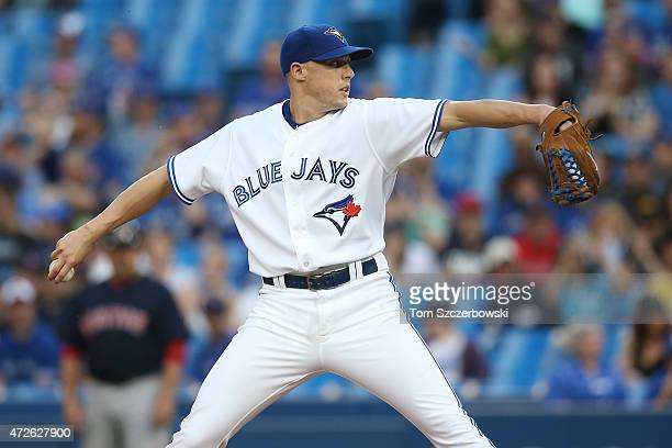Aaron Sanchez of the Toronto Blue Jays delivers a pitch in the first inning during MLB game action against the Boston Red Sox on May 8 2015 at Rogers...