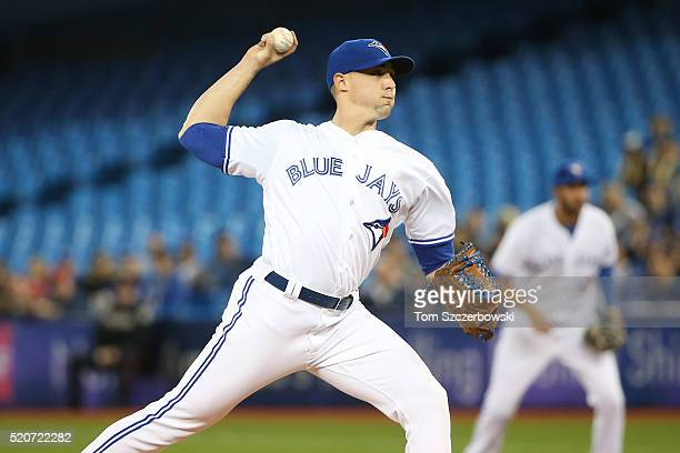 Aaron Sanchez of the Toronto Blue Jays delivers a pitch in the first inning during MLB game action against the New York Yankees on April 12 2016 at...