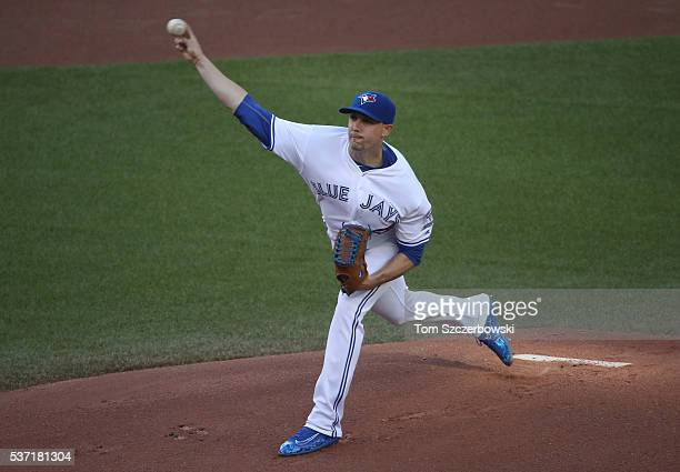 Aaron Sanchez of the Toronto Blue Jays delivers a pitch in the first inning during MLB game action against the New York Yankees on June 1 2016 at...
