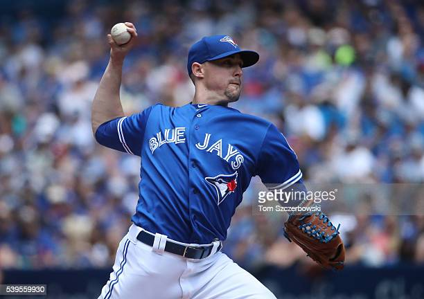 Aaron Sanchez of the Toronto Blue Jays delivers a pitch in the first inning during MLB game action against the Baltimore Orioles on June 12 2016 at...
