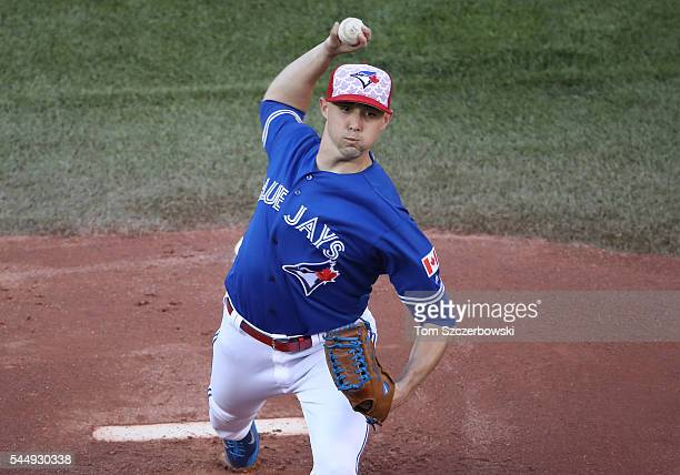 Aaron Sanchez of the Toronto Blue Jays delivers a pitch in the first inning during MLB game action against the Kansas City Royals on July 4 2016 at...