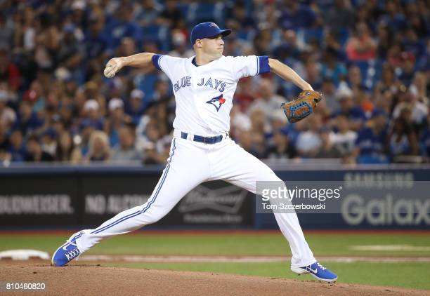 Aaron Sanchez of the Toronto Blue Jays delivers a pitch in the first inning during MLB game action against the Houston Astros at Rogers Centre on...