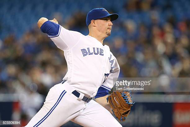 Aaron Sanchez of the Toronto Blue Jays delivers a pitch in the second inning during MLB game action against the Oakland Athletics on April 22 2016 at...