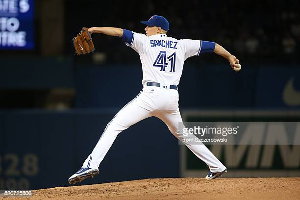 Aaron Sanchez of the Toronto Blue Jays delivers a pitch in the third inning during MLB game action against the New York Yankees on April 12 2016 at...