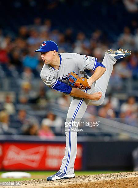 Aaron Sanchez of the Toronto Blue Jays in action against the New York Yankees at Yankee Stadium on September 6 2016 in the Bronx borough of New York...