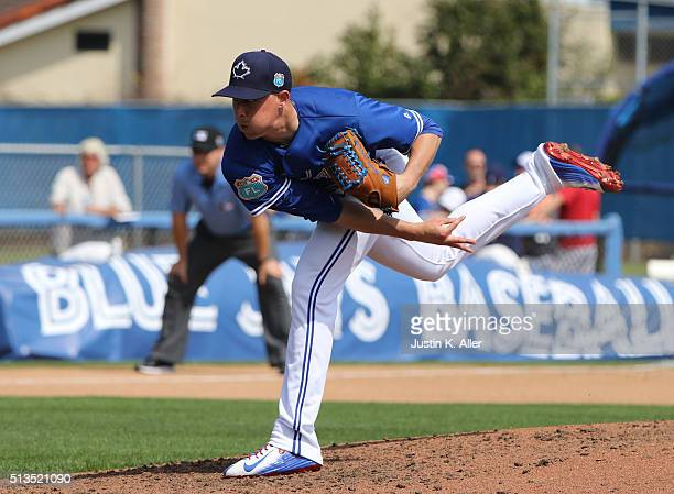 Aaron Sanchez of the Toronto Blue Jays in action during the game against the Philadelphia Phillies at Florida Auto Exchange Stadium on March 2 2016...