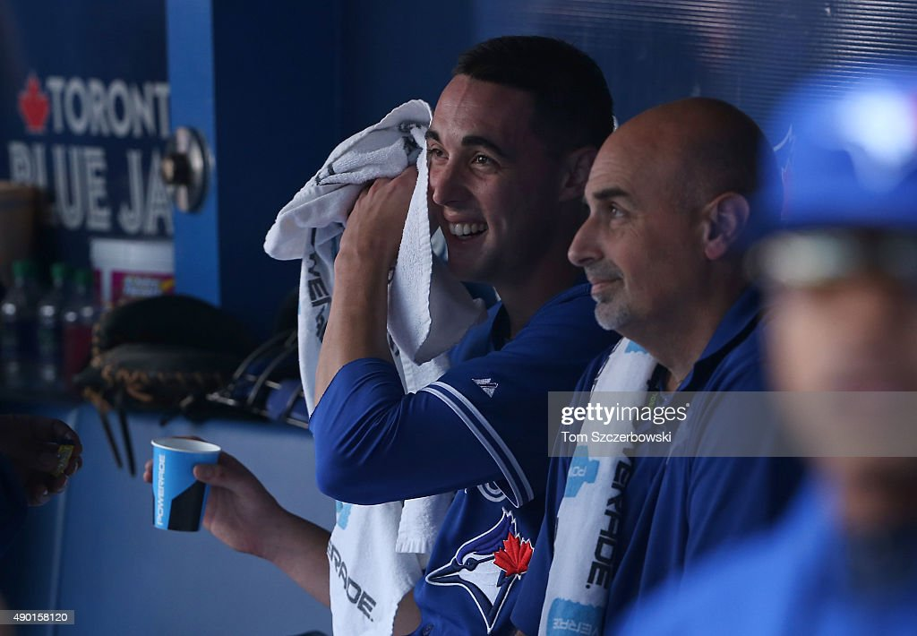 Aaron Sanchez #41 of the Toronto Blue Jays in the dugout after pitching a successful eighth inning during MLB game action against the Tampa Bay Rays on September 26, 2015 at Rogers Centre in Toronto, Ontario, Canada.