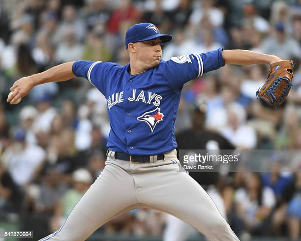 Aaron Sanchez of the Toronto Blue Jays pitches against the Chicago White Sox during the first inning on June 24 2016 at U S Cellular Field in Chicago...