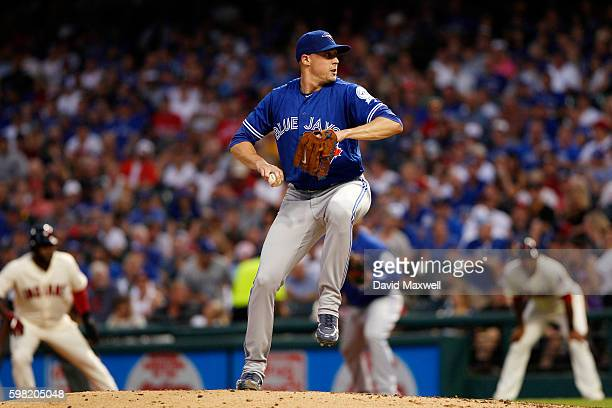 Aaron Sanchez of the Toronto Blue Jays pitches against the Cleveland Indians during the fourth inning at Progressive Field on August 20 2016 in...