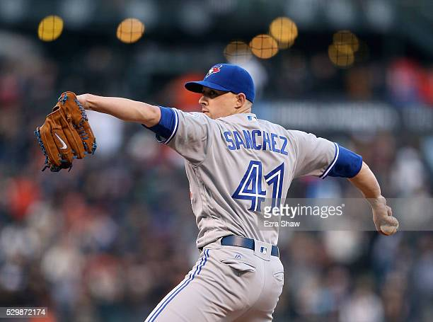 Aaron Sanchez of the Toronto Blue Jays pitches against the San Francisco Giants in the first inning on May 09 2016 in San Francisco California