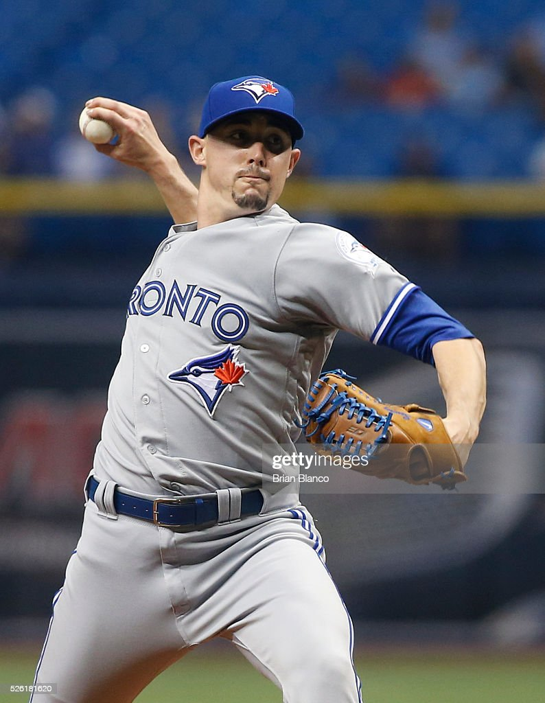 <a gi-track='captionPersonalityLinkClicked' href=/galleries/search?phrase=Aaron+Sanchez+-+Baseball+Player&family=editorial&specificpeople=15130802 ng-click='$event.stopPropagation()'>Aaron Sanchez</a> #41 of the Toronto Blue Jays pitches during the first inning of a game against the Tampa Bay Rays on April 29, 2016 at Tropicana Field in St. Petersburg, Florida.