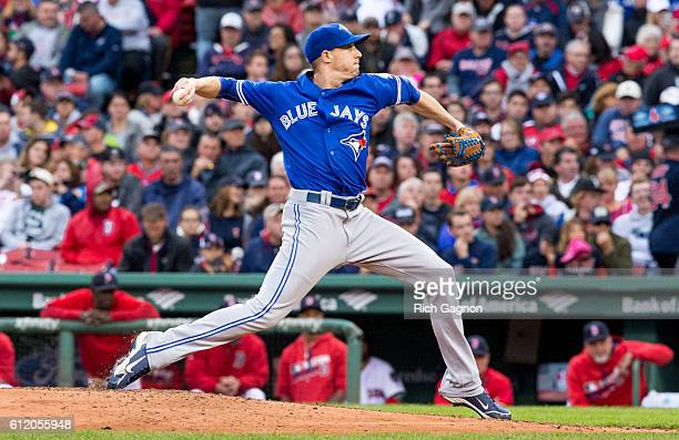 Aaron Sanchez of the Toronto Blue Jays pitches during the fourth inning against the Boston Red Sox at Fenway Park on October 2 2016 in Boston...