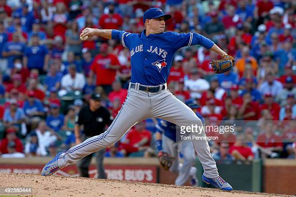 Aaron Sanchez of the Toronto Blue Jays pitches in the eighth inning against the Texas Rangers in game four of the American League Division Series at...