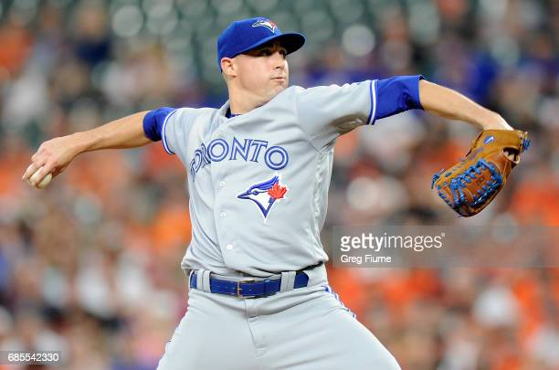 Aaron Sanchez of the Toronto Blue Jays pitches in the first inning against the Baltimore Orioles at Oriole Park at Camden Yards on May 19 2017 in...