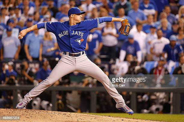 Aaron Sanchez of the Toronto Blue Jays pitches in the seventh inning while taking on the Kansas City Royals in game six of the 2015 MLB American...