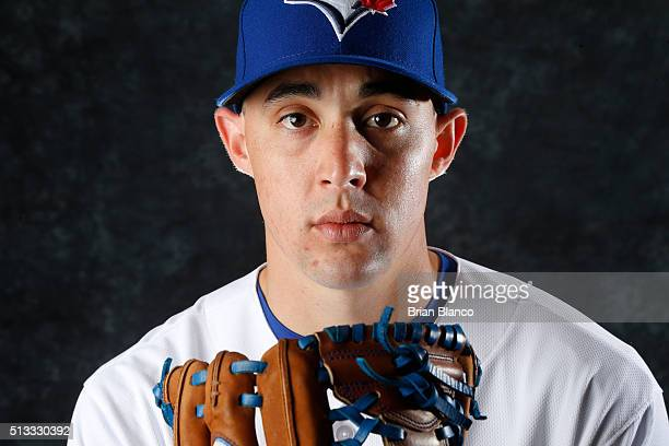 Aaron Sanchez of the Toronto Blue Jays poses for a photo during the Blue Jays' photo day on February 27 2016 in Dunedin Florida