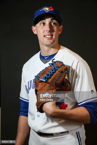 Aaron Sanchez of the Toronto Blue Jays poses for a portait during a MLB photo day at Florida Auto Exchange Stadium on February 21 2017 in Dunedin...