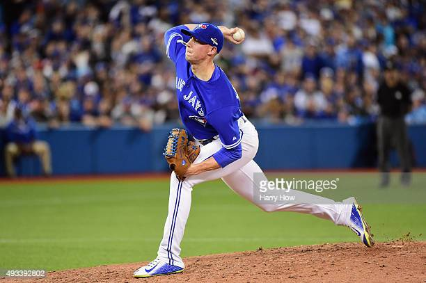 Aaron Sanchez of the Toronto Blue Jays throws a pitch in the sixth inning against the Kansas City Royals during game three of the American League...