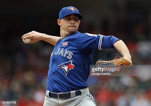 Aaron Sanchez of the Toronto Blue Jays throws against the Texas Rangers in the first inning at Globe Life Park in Arlington on May 15 2016 in...