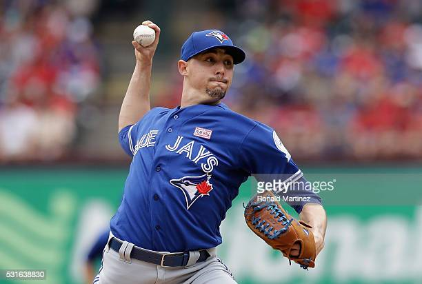 Aaron Sanchez of the Toronto Blue Jays throws against the Texas Rangers in the second inning at Globe Life Park in Arlington on May 15 2016 in...