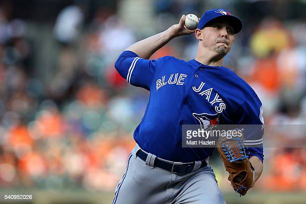 Aaron Sanchez of the Toronto Blue Jays works in the first inning against the Baltimore Orioles at Oriole Park at Camden Yards on June 17 2016 in...