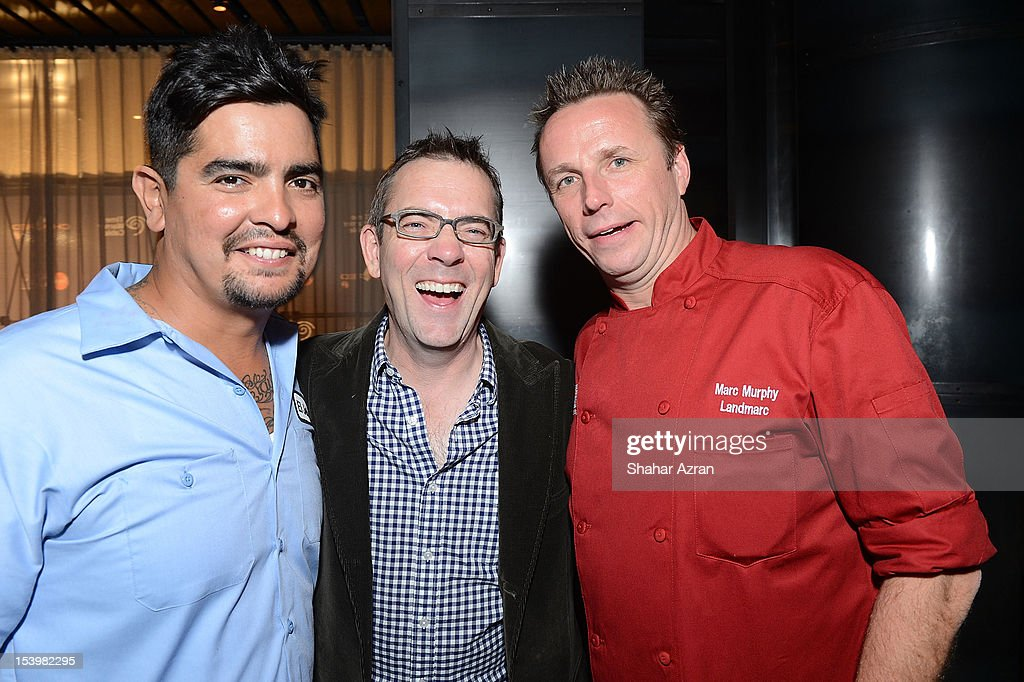 <a gi-track='captionPersonalityLinkClicked' href=/galleries/search?phrase=Aaron+Sanchez+-+Chef&family=editorial&specificpeople=4478498 ng-click='$event.stopPropagation()'>Aaron Sanchez</a>, <a gi-track='captionPersonalityLinkClicked' href=/galleries/search?phrase=Ted+Allen&family=editorial&specificpeople=204146 ng-click='$event.stopPropagation()'>Ted Allen</a> and Marc Murphy attend the 'Chopped' Event at Landmarc on October 11, 2012 in New York City.