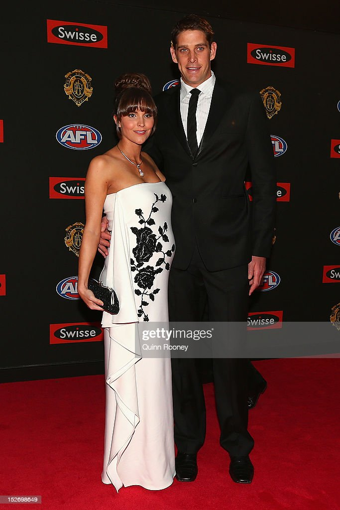 Aaron Sandilands of the Dockers and his wife Jenny Sandilands pose ahead of the 2012 Brownlow Medal at Crown Palladium on September 24, 2012 in Melbourne, Australia.